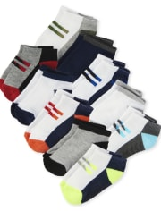 Toddler Boys Cushioned Ankle Socks 10-Pack