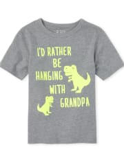 Baby And Toddler Boys Dino Grandpa Graphic Tee