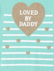 Baby Girls Glitter Daddy Matching Graphic Bodysuit