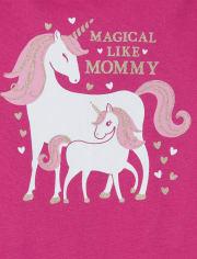 Baby Girls Mom Unicorn Matching Graphic Bodysuit