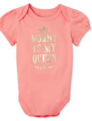 Baby Girls Foil Queen Matching Graphic Bodysuit