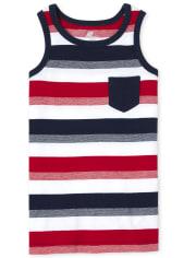 Boys Americana Mix And Match Striped Pocket Tank Top