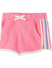 Girls Active Rainbow Side Stripe French Terry Shorts