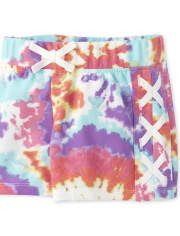 Girls Active Tie Dye Lace Up Shorts