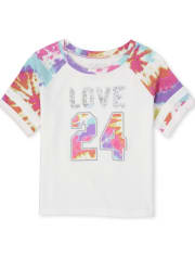Girls Active Tie Dye Love Raglan Top