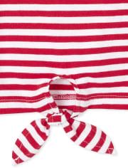 Girls Americana Flip Sequin Striped Tie Front Tank Top