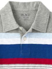 Boys Striped Jersey Polo