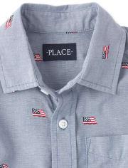 Boys Americana Dad And Me Flag Chambray Matching Button Down Shirt