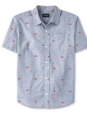 Mens Americana Dad And Me Flag Poplin Button Down Shirt