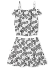Girls Pineapple Off Shoulder Top And Ruffle Skirt Set
