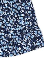 Girls Print Off Shoulder Top And Ruffle Shorts Set