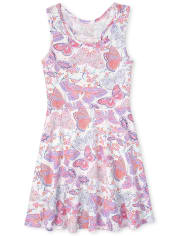 Girls Butterfly Racerback Tank Dress