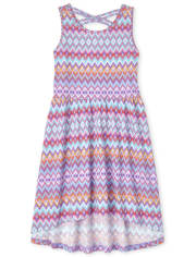 Girls Chevron Cross Back High Low Dress