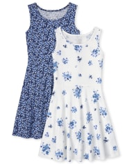 Girls Floral Tank Dress 2-Pack