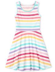Girls Rainbow Striped Tank Dress