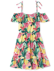 Womens Mommy And Me Fruit Matching Off Shoulder Tiered Dress
