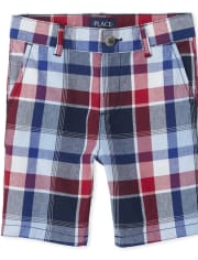 Boys Plaid Chino Shorts