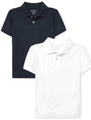 Boys Uniform Soft Jersey Polo 2-Pack