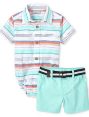 Baby Boys Dad And Me Striped Chambray Matching Button Down Bodysuit Outfit Set