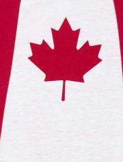 Canada Maple Leaf Printed Boys Girls Bodysuit Long Sleeve Romper Black