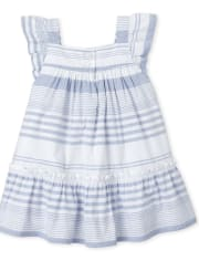 Baby Girls Mommy And Me Striped Matching Ruffle Dress