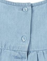 Filles Robe brodée d/'été à bretelles denim volants Ourlet Boho Âge 5-6 Ans