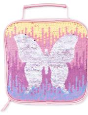 Fiambrera con mariposa y lentejuelas para niñas