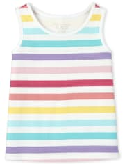 Baby And Toddler Girls Rainbow Striped Tank Top