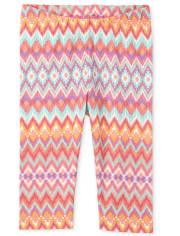 Baby And Toddler Girls Chevron Print Knit Capri Leggings
