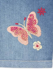 Baby And Toddler Girls Embroidered Butterfly Denim Midi Shorts