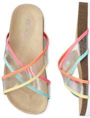 Girls Glitter Rainbow Clear Sandals
