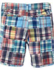 Boys Plaid Patch Chino Shorts