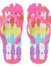 Girls Rainbow Tie Dye Flip Flops