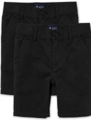Boys Uniform Stretch Chino Shorts 2-Pack