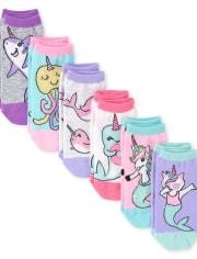 Girls Sea Life Ankle Socks 6-Pack