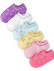 Girls Glitter Pineapple Low Ankle Socks 6-Pack