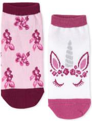 Girls Glitter Unicorn Butterfly Ankle Socks 6-Pack