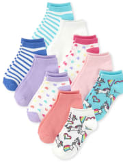 Girls Unicorn Striped Ankle Socks 10-Pack