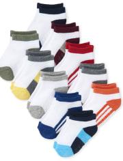 Toddler Boys Colorblock Athletic Ankle Socks 10-Pack