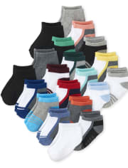 Toddler Boys Striped Cushioned Ankle Socks 20-Pack