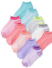 Girls Striped Ankle Socks 10-Pack