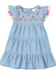 Baby And Toddler Girls Embroidered Tassel Denim Tiered Dress