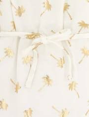 Baby And Toddler Girls Foil Palm Tree Cold Shoulder Dress