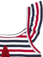 Baby And Toddler Girls Americana Striped Sequin Romper