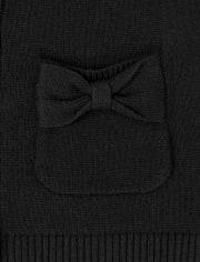 Cárdigan de lazo uniforme para niñas pequeñas