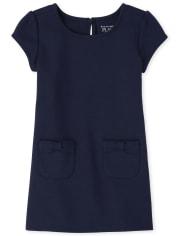 Vestido de ponte con lazo de uniforme para niñas pequeñas