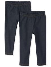 Paquete de 2 leggings de mezclilla sintética de uniforme para niñas pequeñas