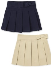 Toddler Girls Uniform Stretch Bow Pleated Pull On Skort 2-Pack