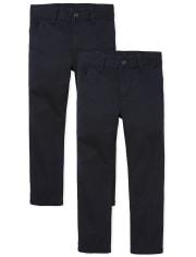 Boys Uniform Skinny Chino Pants 2-Pack