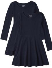 Girls Uniform Skater Dress 2-Pack
